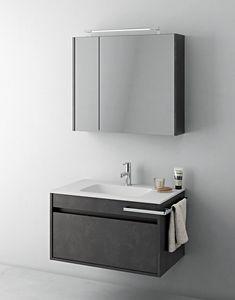 Duetto comp.07, Mobile salvaspazio da bagno con specchiera contenitrice