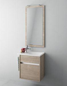 Duetto comp.16, Mobile bagno con piccolo lavabo e specchiera