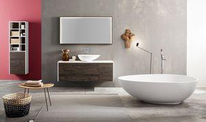 Kami comp.02, Mobile bagno modulare con lavabo da appoggio