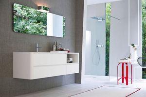 My seventy plus comp.01, Mobile da bagno laccato bianco, dal design essenziale