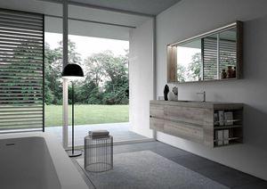 Ny� comp.15, Mobile da bagno minimale, con specchiera e luce a led
