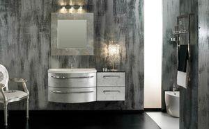 Glamour Argento AM44, Elegante mobile da bagno, finitura argento