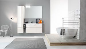 Kami comp.09, Mobile da bagno componibile con finiture lucide