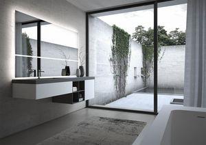 Sense comp.06, Arredo componibile per bagno, con ampia specchiera
