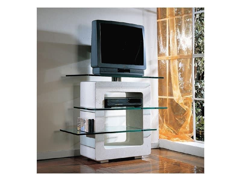Aria Porta TV, Porta TV in pietra e vetro, per la casa