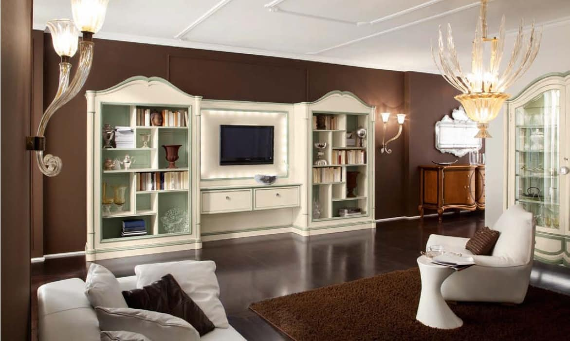 Parete attrezzata per soggiorno, con librerie gemelle ...