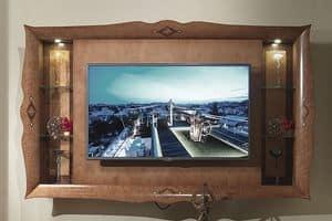 CN03 Charme porta tv, Porta tv pensile, in legno intarsiato, per alberghi di lusso