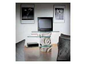 Corallo Porta TV, Porta TV orientabile, in pietra con ripiani in cristallo