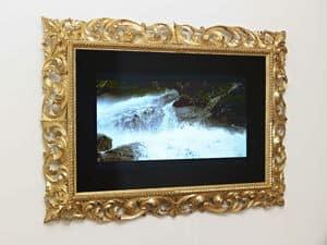 CORNICE PER TV ART. CRTV 0014, Cornice intagliata classica per salotti di lusso