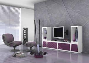 Cube, Sistema modulare porta tv in laccato opaco