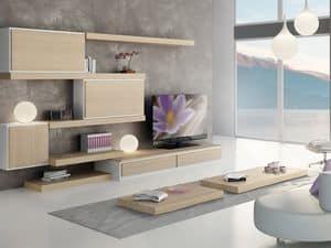 Giorno Sistemi 04, Arredamento modulare con mensole e mobili contenitori