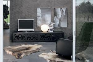 PARIS porta tv, Mobili home cinema, in laminato traforato, per soggiorni