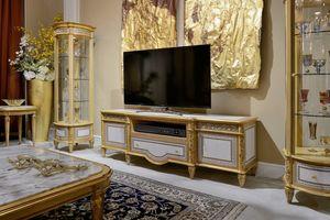 Porta TV 1447 STILE LUIGI XVI, Porta tv con intarsi geometrici