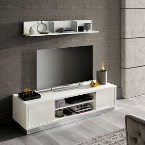 Roma Slim composizione tv, Mobile tv laccato bianco
