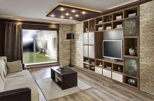 ST 57, Porta TV con libreria, con decorazioni in rilievo in noce