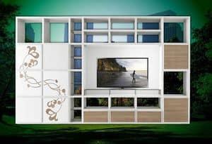 ST 61, Porta tv con libreria e decorazioni floreali in rilievo