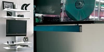 xl82 erik, Mobile porta TV a parete, con passacavi a scomparsa