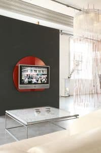 xl95 wall, Supporto per tv in cristallo temperato colorato