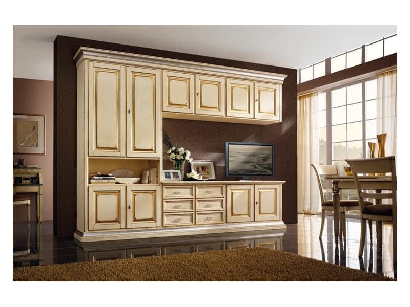 Art.0779/L, Mobile in legno per cucine e soggiorni, color avorio