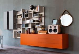 Citylife 02, Sistema modulare per salotto moderno, con libreria
