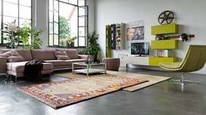 Citylife 04, Sistema modulare per salotti moderni, con mobili pensili