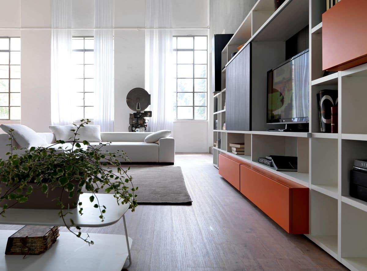 Libreria con elemento porta tv, per salotti moderni  IDFdesign