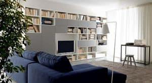 Citylife 38, Composizione moderna per salotti, con libreria e armadi