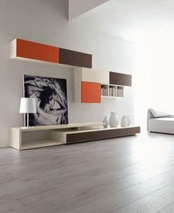 Citylife 43, Composizione moderna per salotto, con mobili pensili