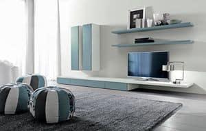 Citylife 44, Sistema modulare per salotto, con mensole e armadi