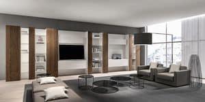 CODE comp.05, Libreria moderna per soggiorno, con mobile tv e mensole