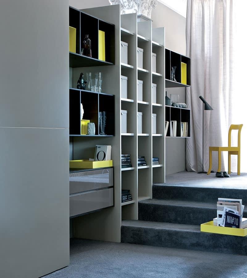 Libreria per soggiorno, mobile componibile per salotto  IDFdesign