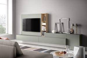 People P214, Parete attrezzata per soggiorno moderno, in legno