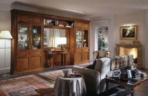 R 03, Mobile classico per soggiorno con vetrine e specchio