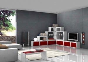 Red Corner, Mobile porta tv ad angolo, per soggiorni alla moda