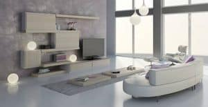Soggiorno 24, Arredo modulare per soggiorno, design contemporaneo, personalizzabile nelle finiture e negli elementi