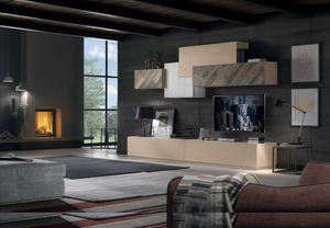 Spazio Contemporaneo SPAZ04, Mobile componibile in legno per soggiorno
