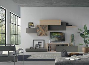 Spazio Contemporaneo SPAZ08, Mobile moderno componibile per soggiorno