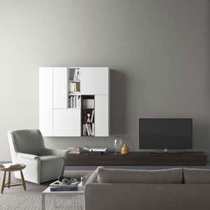Spazio S310, Parete attrezzata con porta tv, con illuminazione