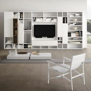 Spazioteca SP014, Sistema modulare per salotto moderno, in legno