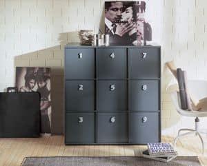 TOOLBOX comp.03, Mobile contenitore per casa o ufficio, maniglie numerate