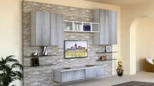 Top Milano, Mobile da soggiorno, con parete rivestita in pietra