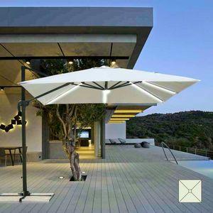 Ombrellone giardino con Luce Solare LED quadrato 3x3 braccio alluminio PARADISE - PA303UVL, Ombrellone con luce LED e pannello solare integrato