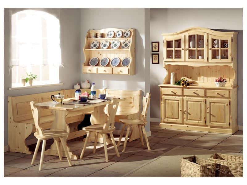 Collezione Giorno 2, Panca tavolo in legno di pino, in stile rustico