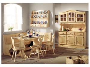 Collezione Giorno 2, Panca tavolo in legno di abete, in stile rustico