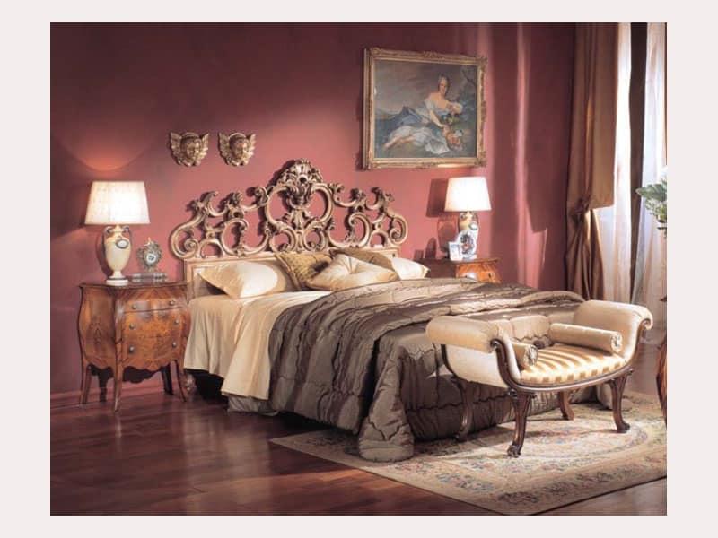 3245 PANCHINA, Panchina imbottita con rulli, stile classico di lusso