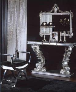 703 PANCHINA, Panchina imbottita con finiture argento, classica di lusso