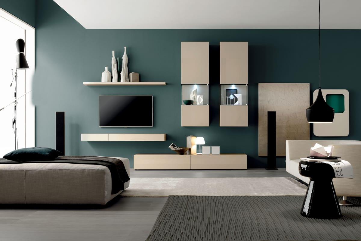 Parete attrezzata per soggiorno, stile moderno  IDFdesign