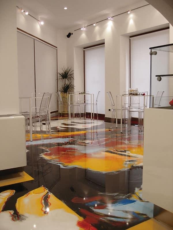 Pavimenti in resina artistici 2, Pavimentazione in resina, per negozi e bar