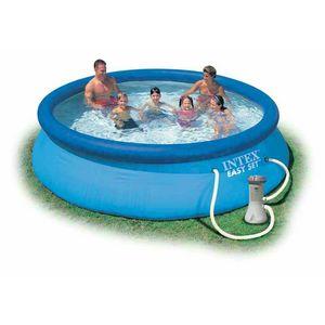 Intex 28132 Easy Set piscina fuori terra gonfiabile rotonda 366x76 - 28132, Piscina gonfiabile per esterni con pompa filtro