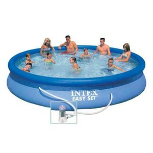 Intex 28158 Easy Set piscina fuori terra gonfiabile rotonda 457x84 - 28158, Grande piscina gonfabile per esterni